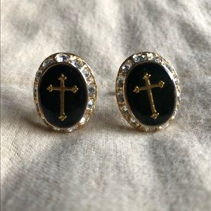 Black & Gold Cross Cuff Links